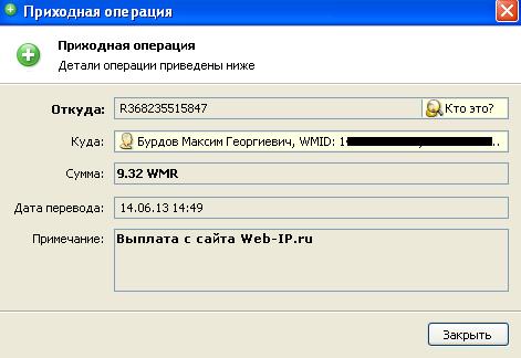 выплата с Web-IP