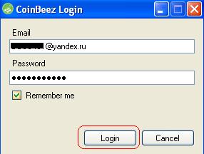 запуск программы CoinBeez