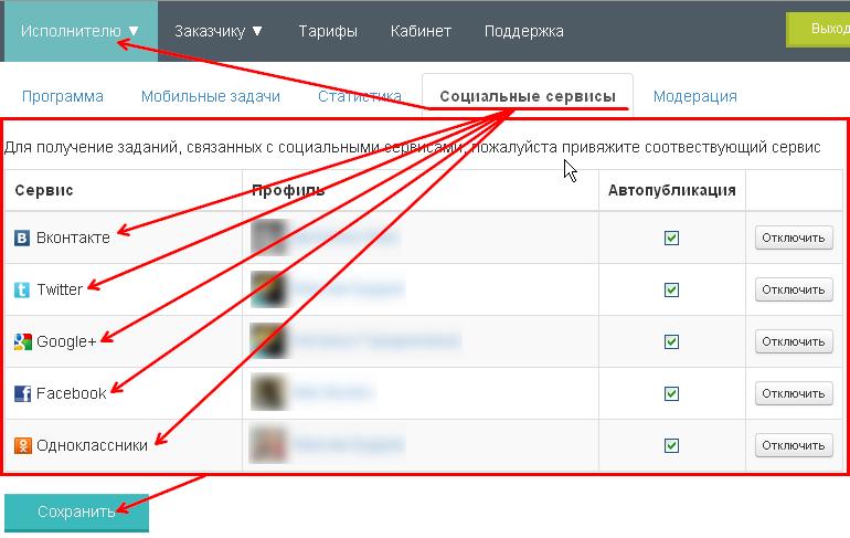привязка социальных сервисов на ProfitTask