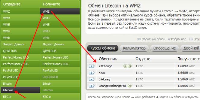обмен Litecoin на WMZ
