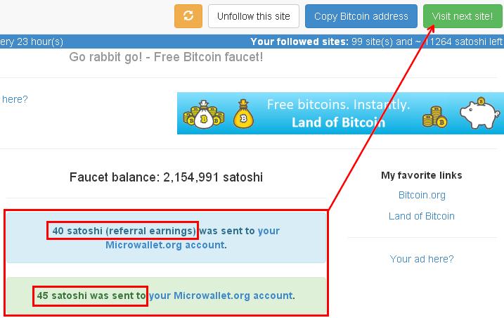 перевод сатош на микроваллет на Land of Bitcoin