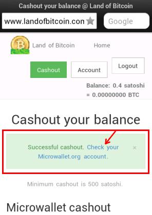 Сатоши выведенные с landofbitcoin на Microwallet