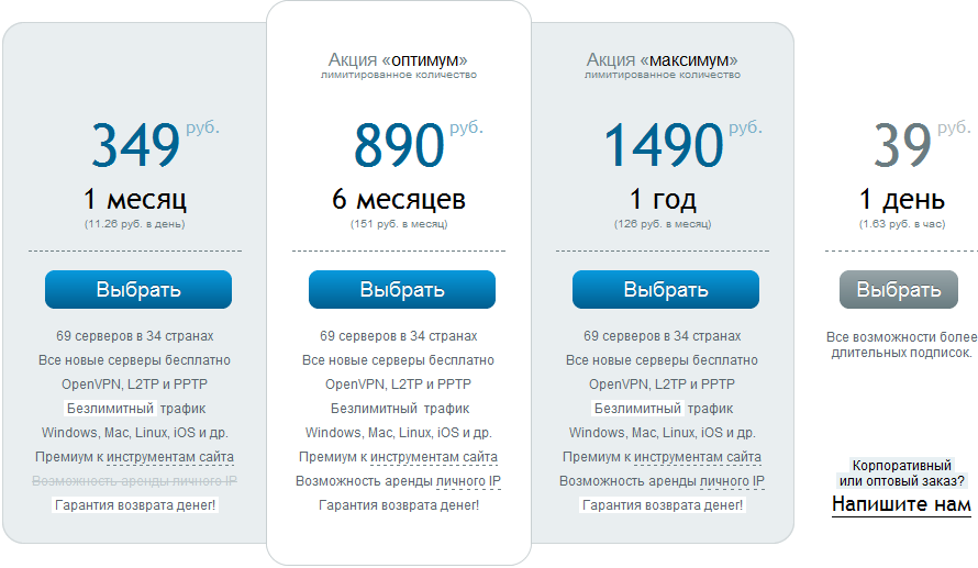 цены на прокси в HideME