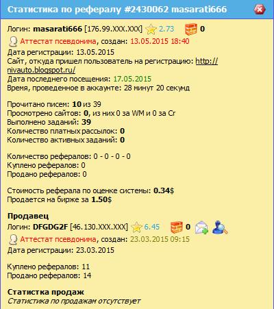 Подробная статистика по рефералу