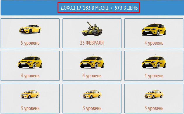доход с машин на Taxi Money