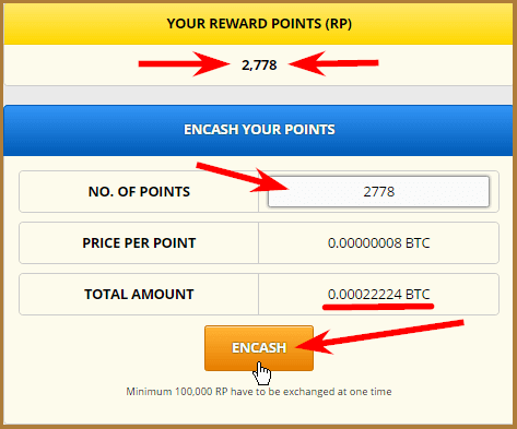 обмен REWARD POINTS на сатоши на кране freebitcoin