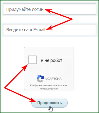 заполнение формы регистрации на WMRFast