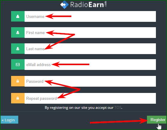 регистрация на RadioEarn