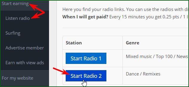 запуск оплачиваемого прослушивания радио на RadioEarn