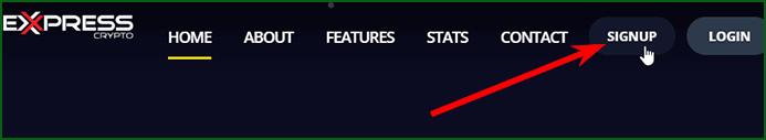 кнопка регистрации на Express Crypto
