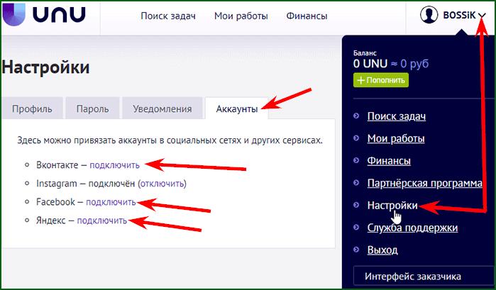 Привязка социальных профилей к аккаунту UNU