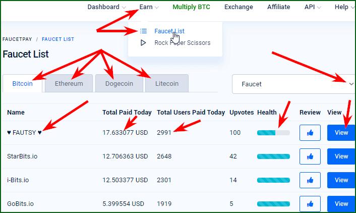 список криптовалютных кранов с выплатой на FaucetPay
