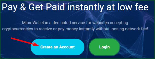 кнопка регистрации на сайте микрокошелька MicroWallet