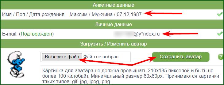заполнение анкетных данных и загрузка аватара на seotime
