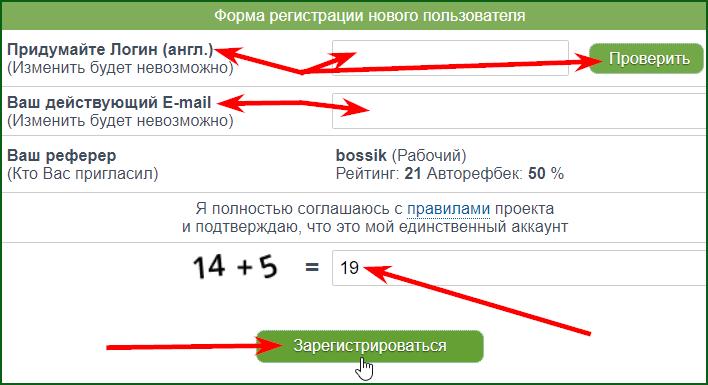 заполнение регистрационной формы на SeoTime