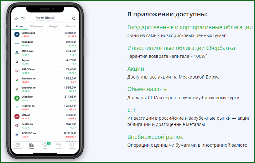 возможности приложения Сбербанк Инвестор