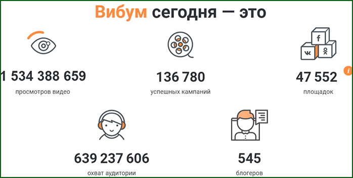 статистика сервиса Viboom
