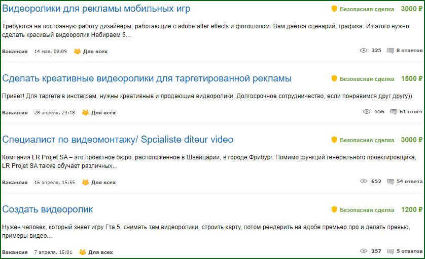 вакансии по созданию видеороликов и видеомонтажу на бирже фриланса Fl ru