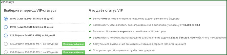 что дает VIP статус на LikesRock