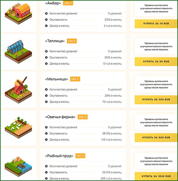 доступные для покупки постройки в игре Ferma gg