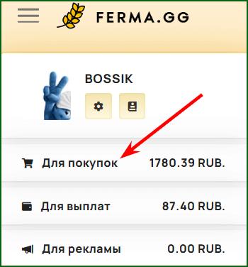 раздел для пополнения баланса в игре Ferma gg