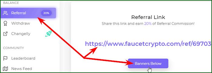 реферальная программа крана Faucet Crypto