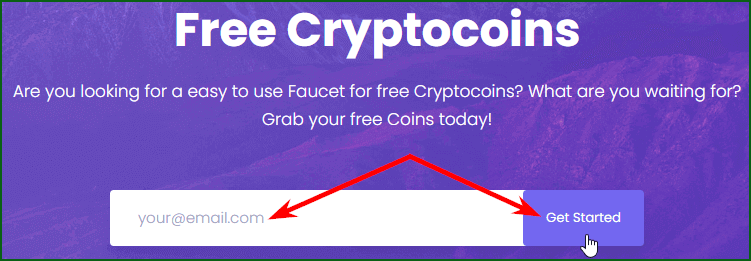 регистрация на мультивалютном кране Faucet Crypto шаг 1
