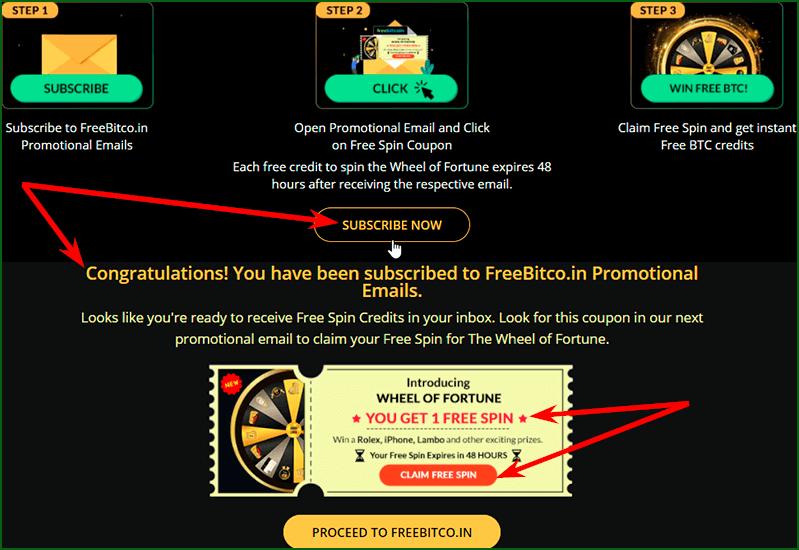 подписка на рекламную рассылку FreeBitcoin