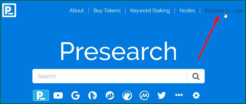 регистрация на Presearch шаг 1