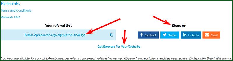 рекламные материалы для привлечения рефералов в Presearch