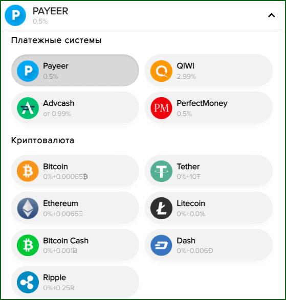 Доступные способы вывода денег с Payeer кошелька
