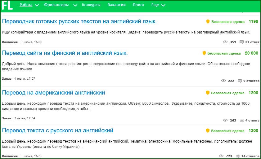 заказы на перевод текстов с одного языка на другой на биржах фриланса