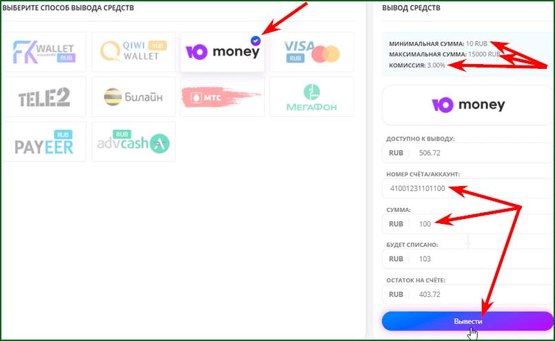 Вывод денег с FKWallet шаг 2
