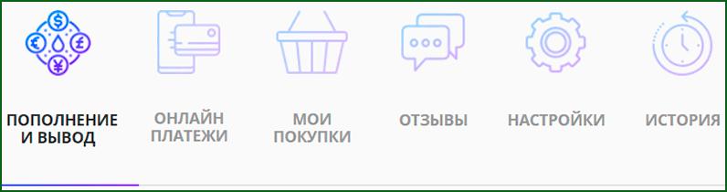 основные элементы меню личного кабинета FKWallet