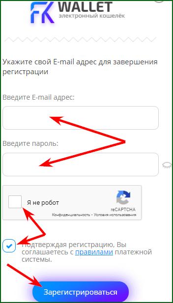 регистрация FKWallet кошелька шаг 2
